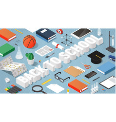 back to school isometric vector image