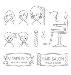 Barber shop outline icons set banner vector