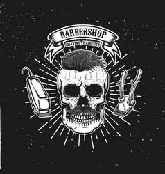 Barbershop emblem template hipster skull with vector