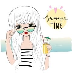 beautiful romantic girl on beach vector image