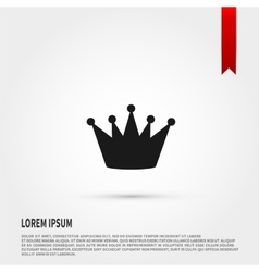 Black crown icon Flat design style Tem vector