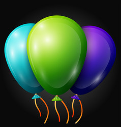 Blue green purple balloons with ribbons vector