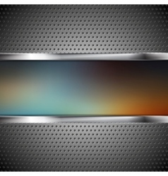 Blurred banner and perforated metal texture vector image
