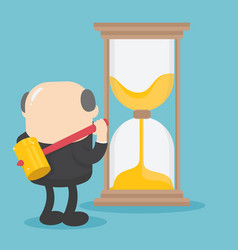 Boss businessman idea of breaking the time vector