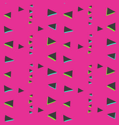 bright pink pattern with glitch triangles vector image