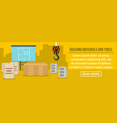 building materials and tools banner horizontal vector image