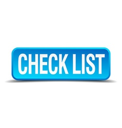 check list blue 3d realistic square isolated vector image