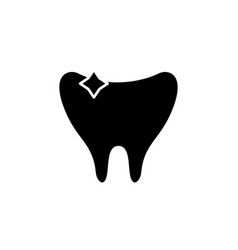 clean tooth black icon sign on isolated vector image