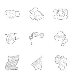 Company icons set outline style vector