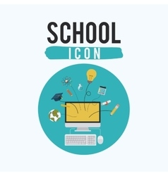 Computer and icon set of school inside circle vector