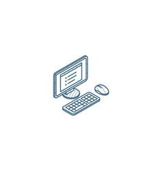 computer desktop isometric icon 3d line art vector image
