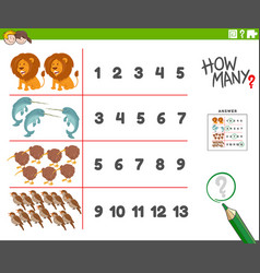 Counting task with funny animal characters vector