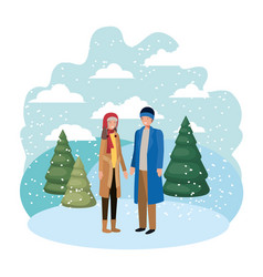 couple with winter clothes and winter pine avatar vector image