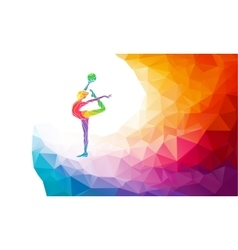 Creative silhouette of gymnastic girl Art vector image