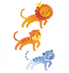 Cute cartoon lion tiger cat vector