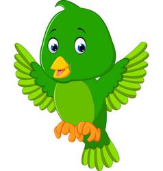 Cute green bird cartoon vector