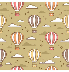 Cute seamless pattern with colorful air balloons vector