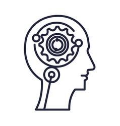 Cyber humanoide profile icon vector