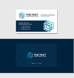 Dark blue business card with three colored squares vector