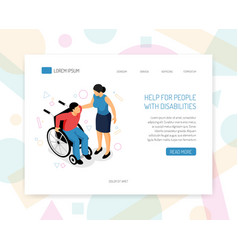 Disabled people web design vector