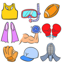 Doodle of sport various object vector