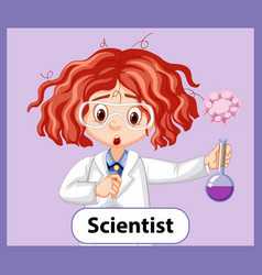 Educational english word card scientist girl vector