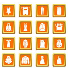 fashion clothes wear icons set orange square vector image