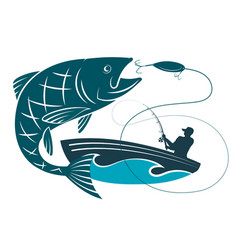 Fish jumping for bait and a fisherman in a boat vector