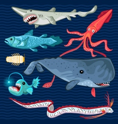 Fish Of The Deep Blue Sea Collection Set vector