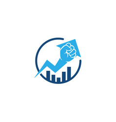 fist hand up arrow statistics bar chart logo icon vector image