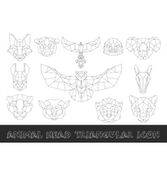front view animal head triangular icon vector image