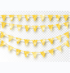glitter gold party flags decoration set isolated vector image