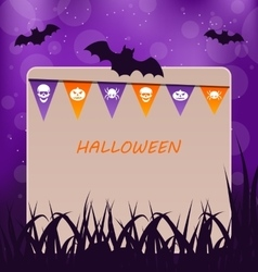 Halloween Party Card with Hanging Flags vector image