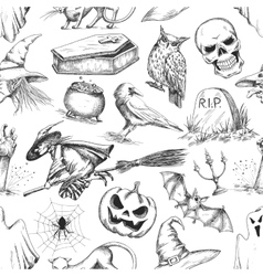 Halloween party symbols pencil sketch pattern vector image