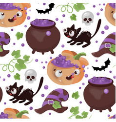 halloween potion pumpkin flat design seamless vector image