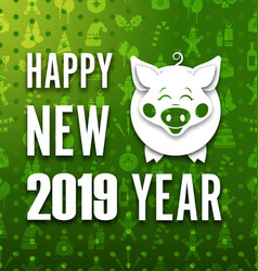 happy new year card with cut paper pig greeting vector image