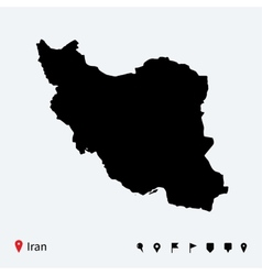 High detailed map of Iran with navigation pins vector