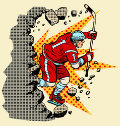 hockey player breaks a wall winter sport vector image