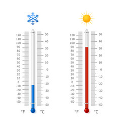 Hot and cold weather temperature symbols vector