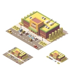 isometric low poly supermarket vector image