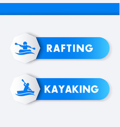 Kayaking rafting icons banners vector