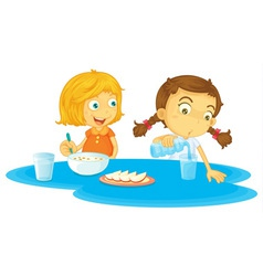 Kids having breakfast vector