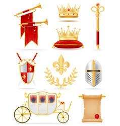 King royal golden attributes medieval power vector