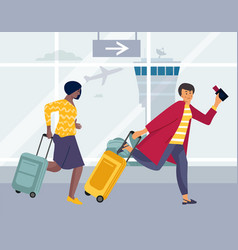 late tourists women running for plane landing vector image