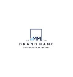 Letter mm square logo finance design vector