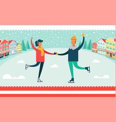 man and woman ice-skating vector image