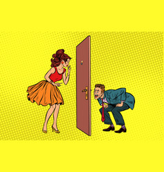 man and woman looking through a door peephole and vector image