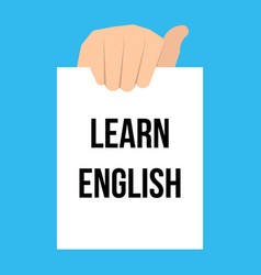 man showing paper learn english text vector image