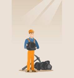 Miner holding coal in hands vector