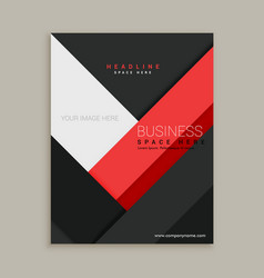 minimal red and black business company brochure vector image